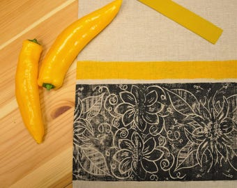 Hand Printed / Hand Painted Linen Kitchen set / Apron and Tea Towel / Gift Set