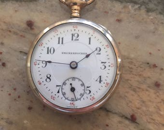 Knickerbocker watch co (swiss) vintage gold plated pocket watch