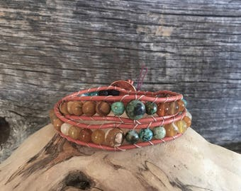 Turquoise and Jasper Double Wrap Diffuser Bracelet.