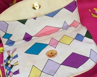 Evening HANDBAG Emilio PUCCI PURSE Vintage Bag Rare Collectors Party Print Silk Signed Pucci 60s Pink White Lilac Purple Diamonds clutchbag