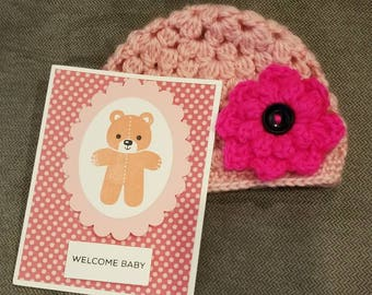 Baby shower gift, baby hat and card set, handmade for baby, stampin up!, crochet hat