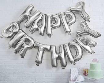 Giant 16'' HAPPY BIRTHDAY Balloon, Silver Foil Balloon, Birthday Party Favor, Letter Balloons, Photo Prop, Birthday Party Decor