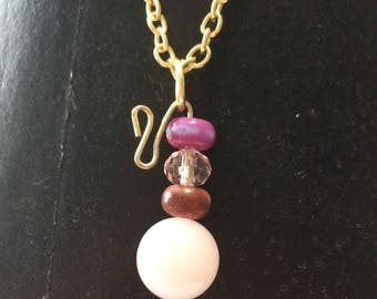 Pink and purple stone necklace