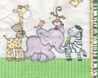 429 1 animal parade paper size 33 X 33 lunch napkin