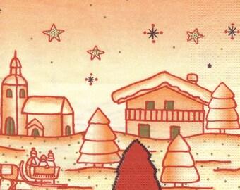 VILLAGE in winter 702 1 towel paper 33 X 33 patterns 2 X 2