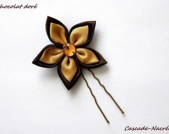 PIC à cheveux fleur chocolate gold bridal satin silver Pearl wedding jewelry