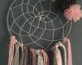 Pink/gray/lace dream catcher