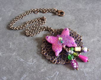 Pink and multicolored Butterfly pendant handmade by Little Valentine