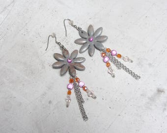 Earrings Fleur winter gray polymer clay and stainless steel / handmade fimo by Little Valentine