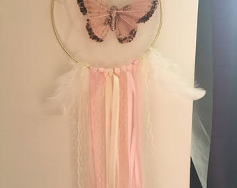 Ivory and pink butterfly Dream Catcher