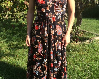 1970s Paisley Print Maxi Dress