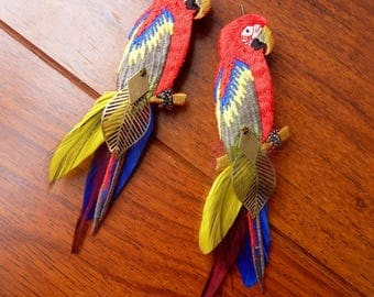 Multicolored Parrot feather earrings