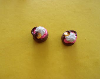 Set of 2 cupcakes polymer clay, Brown and pink - 1.5 cm