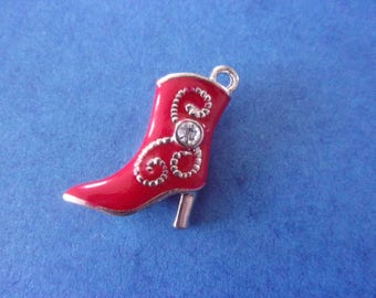 Pendant boot heel silver tone and Red - 25mm x 20mm