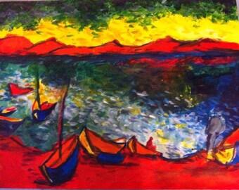 Sea landscape acrylic painting