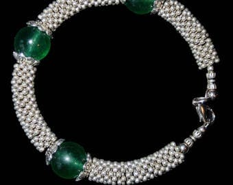 new! creation Tibetan bracelet with jade beads and findings