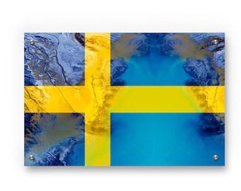 Swedish  Flag Graffiti Wall Art Printed on Brushed Aluminum