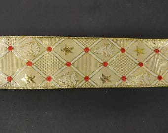 """FREE SHIPPING- 2.5"""" Wired Metallic Gold and Red Christmas Ribbon - 5 Yards"""
