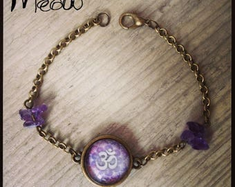 "Bracelet in bronze and Amethyst ""Ohm"" with inspiration mandalas"