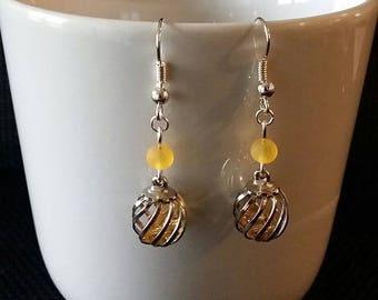 """orange Cage"" earrings 3.5 cm"