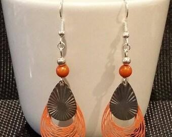 """""""orange Arabesque"""" earrings 7 cm"""