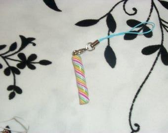 phone charm / strap multicolor Marshmallow Fimo
