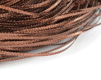 5 M of metallic 3mm Nylon Brown Ribbon