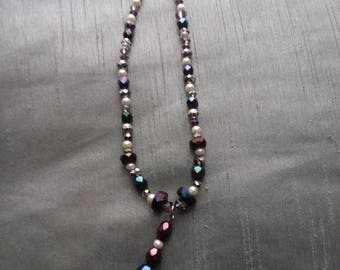 Sparkly Purple and Gray Beaded Necklace