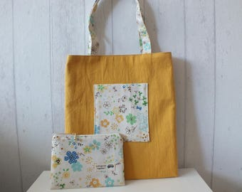 Set of yellow reversible bag/tote-bag and pouch printed Japanese fabric flowers.