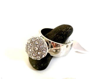 NEW! SET ring with Perle de Metal with Rhinestones + Metal finger ring 'Stainless Steel' screw - size