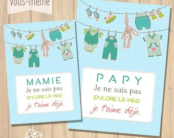 Set of 2 cards, personalized birth announcement {to print yourself}