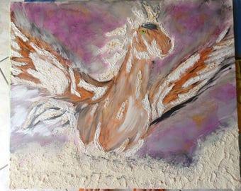 Brown horse, flying horse, heaven, Angel