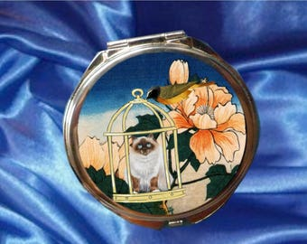 large Pocket mirror with cat: cat and bird