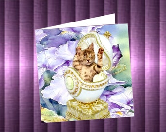 double Easter card, with cats: the Faberge egg