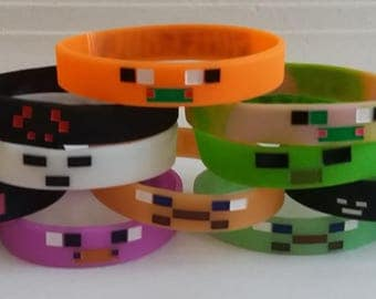 Mining Pixelated Glow in the Dark Bracelets Kids Birthday Party Favors (12 pack)