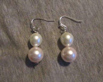Double Pearl Drop Bead Earrings