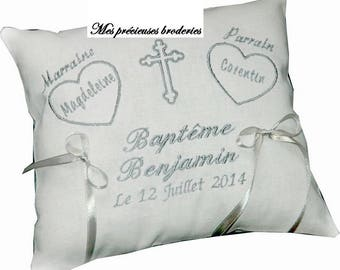 Baptism baby child embroidered personalized name date pillow, gift