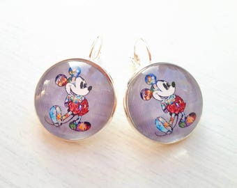 """Earrings """"Character mouse filled with his friends"""" and gray cabochon 25mm, sleeper."""