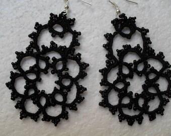 Black Lace, tatting, crochet earrings, tatted earrings