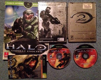 Halo 2 Steelbook Coll Ed Metal Case Promo Display CIB + Halo C.E. Prima Guide