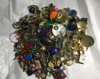 Mixed jewelry AA2 earring lot, vintage to now, studs, dangles, craft supply, repurpose