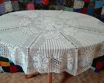 Knitted tablecloth Home Decor Crochet knitting White Knitted Cotton Doily Table Décor Desk Cover Decoration White