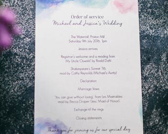 Printable Wedding order of service. Designed by Jess Ridgers.