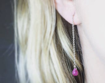 Ruby Earrings dangle with a Silver 925 chain with gemstones.
