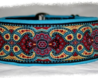 Dog collar #Secret gardens# Jacquard ribbon with unique colourful ornaments, Elegant design