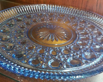 Vintage Blue Indiana Glass Serving Tray/Cake Plate
