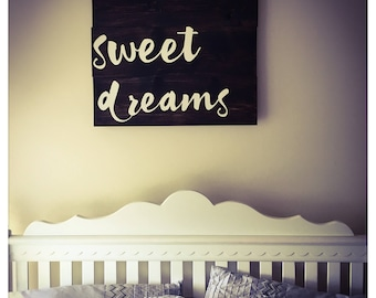 Sweet Dreams Wood Sign, Wood Pallet Sign, Rustic Sign