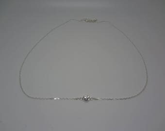 Clear rhinestones in Silver 925 necklace