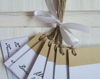 Set of 10 gift tags (Kraft & white)