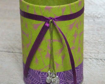 Pencil holder (No.35) Green & red/purple